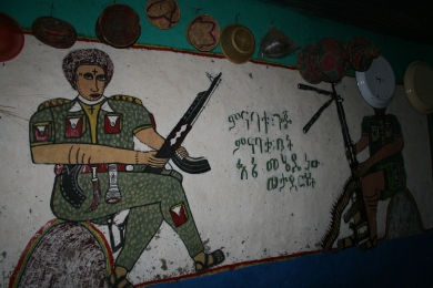 Detailed murals in Damoze's house. The people in this area are proud of their defeat of the Italians in WWII.