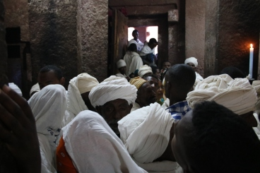Pilgrims in St. Mary's Church in Lalibella before Genna, or Ethiopian Christmas.