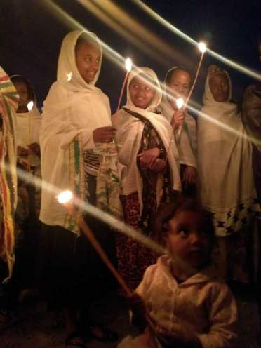 Faithful gather for the Meskel celebration.